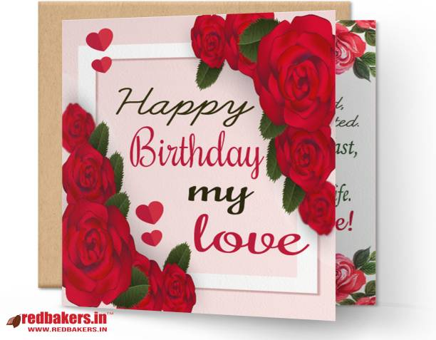 redbakers.in Happy BIrthday My Love Rose Greeting Card Greeting Card
