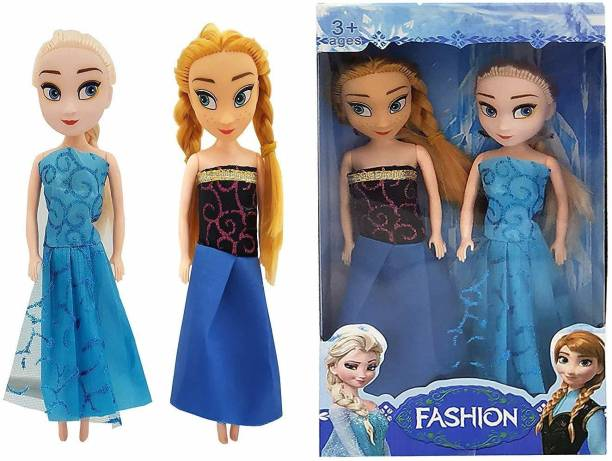 The Simplifiers Big Plastic Frozen Sister Anna and Elsa Doll - Set of 2, 20 cms Each