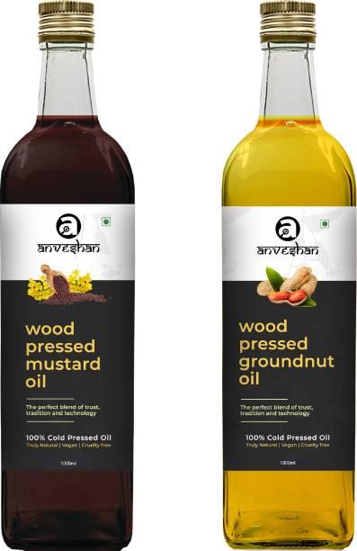 Anveshan Wood Pressed Mustard & Groundnut Oil (Kacchi Ghani/ Kolhu/ Chekku) 1Litre Each Glass Bottle Combo