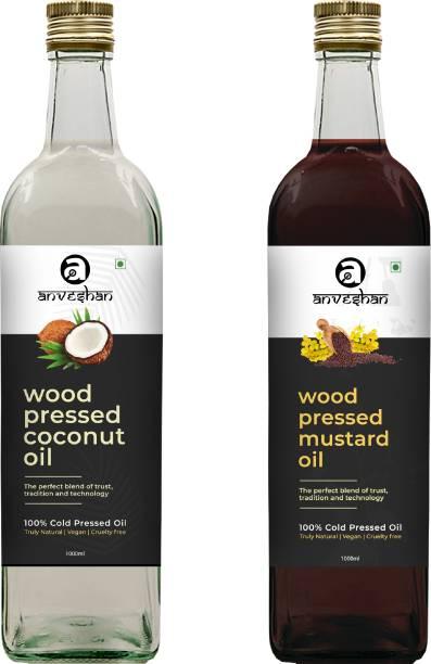 Anveshan Wood Pressed Coconut & Mustard Oil (Kacchi Ghani/ Kolhu/ Chekku) 1Litre Each Glass Bottle Combo