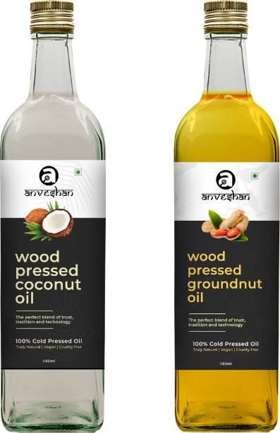 Anveshan Wood Pressed Coconut & Groundnut Oil (Kacchi Ghani/ Kolhu/ Chekku) 1Litre Each Glass Bottle Combo
