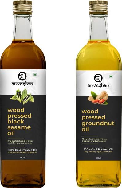 Anveshan Wood Pressed Black Sesame & Groundnut Oil (Kacchi Ghani/ Kolhu/ Chekku) 1Litre Each Glass Bottle Combo