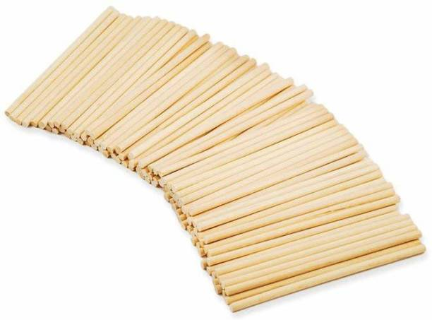 Bakers King Round Bamboo Wood Skewers || Wooden Barbeque Sticks || Dowel Rod Pole for Kids Children DIY Craft Model Making Wood craft 100 Pieces Disposable Bamboo Spork Set