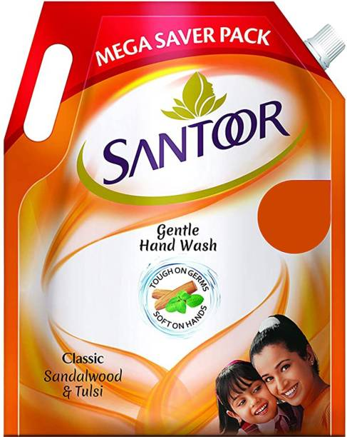 santoor Gentle Wash Classic Sandalwood and Tulsi Handwash Hand Wash Pouch