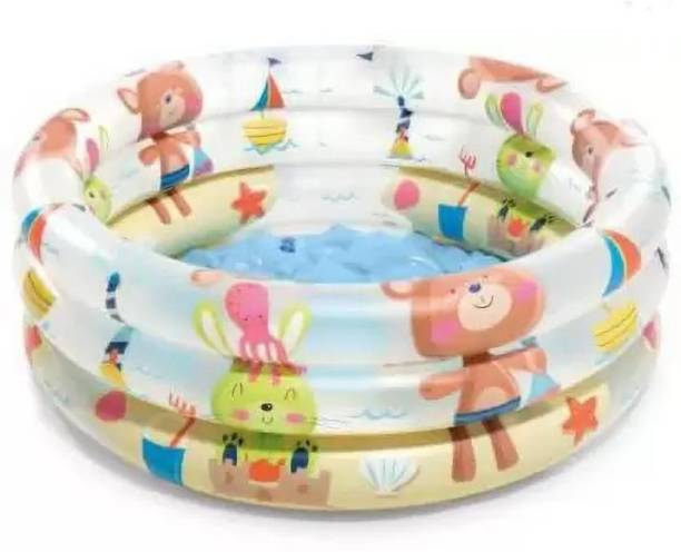 SANJARY Inflatable Baby Pool Bath Water Tub for Kids (2 feet) 0-3 Years (Multi Colour) Inflatable Swimming Pool (Multicolor) Inflatable Swimming Pool