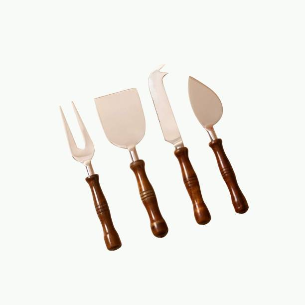 nestroots cake server Cheese Knife, Cheese Fork, Cheese Slicer, Cheese Spread Wide Server Set with wooden handle for party bar restaurant café (Silver, Set of 4) Wooden, Steel Cake Server