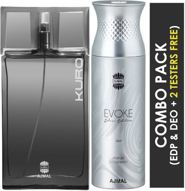 Ajmal Kuro EDP Aromatic Spicy Perfume 90ml for Men and Evoke Silver Edition Him Deodorant Spicy Floral Fragrance 200ml for Men+ 2 Parfum Testers