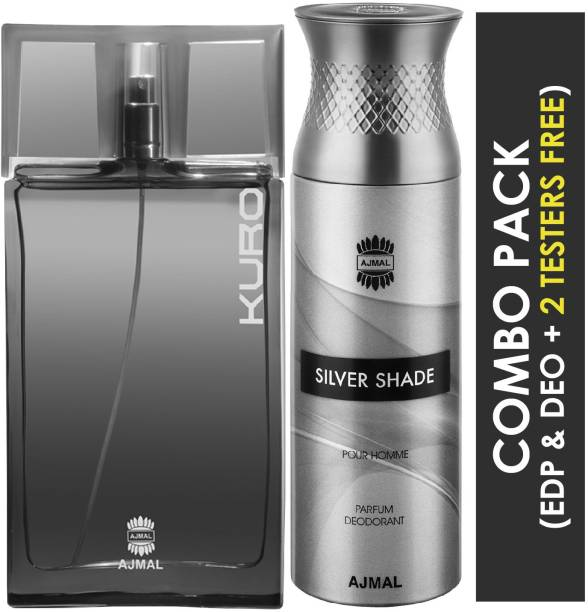 Ajmal Kuro EDP Aromatic Spicy Perfume 90ml for Men and Silver Shade Homme Deodorant Citrus Woody Fragrance 200ml for Men+ 2 Parfum Testers