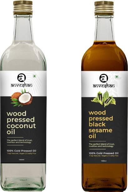 Anveshan Wood Pressed Coconut & Black Sesame Oil (Kacchi Ghani/ Kolhu/ Chekku) 1Litre Each Glass Bottle Combo