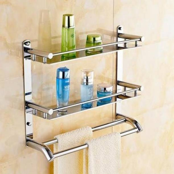 GLOXY Stainless Steel Bathroom Hanging Rack Organizer Silver Towel Holder