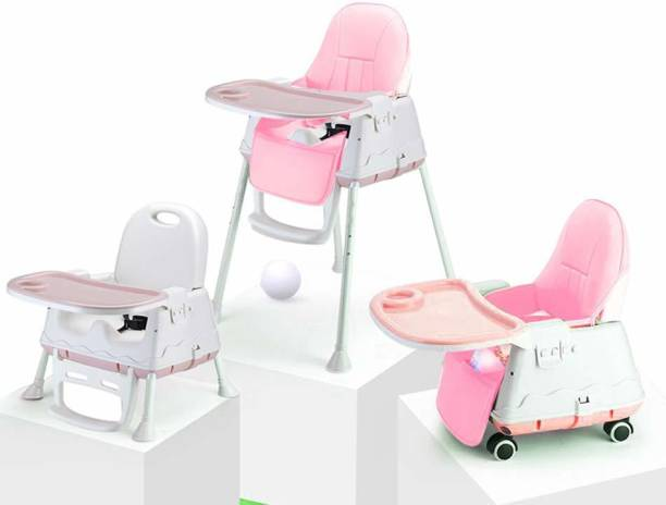StarAndDaisy Folding Baby High Chair Recline Highchair Height Adjustable Feeding Seat Wheels *UPGRADED VERSION with wheel and PU cushion pad*