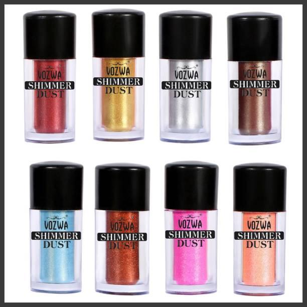 VOZWA Eyeshadow Shining Shimmer Dust 16 g - Maroon + Golden + Silver + Coffee + Blue + Copper + Pink + Peach 16 g