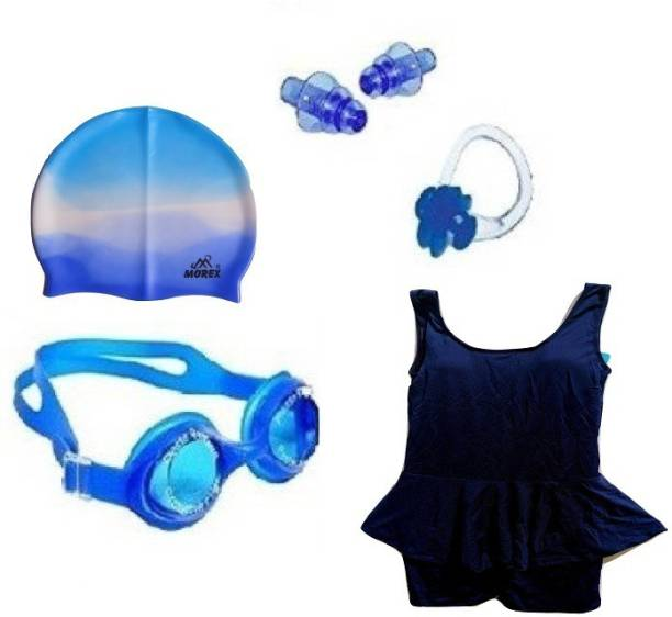MOREX ® Swimming Cap , Goggles , Swimming Costume (10-12) years ,Earplugs & Nose Clip CB-336 Swimming Kit