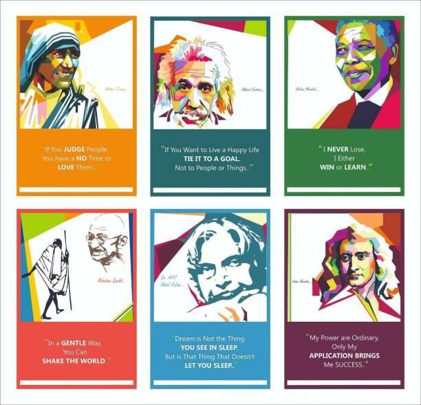 Mother Teresa,Albert Einstein,Nelson Mandela,Mahatma Gandhi,Dr.Abdul Kalam,Isaac Newton Inspirational Motivational Wall Posters For Home & Office Decor - Set of 6 Paper Print