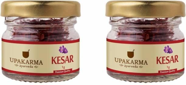 UPAKARMA Certified Natural, Pure and Organic Finest A++ Grade Kashmiri kesar- Saffron 1 Gram (pack of 2)