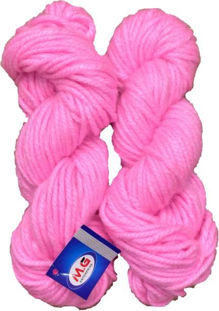 M.G Enterprise JP Pink (200 gm) Knitting Yarn Thick Chunky Wool Hank Hand knitting wool / Art Craft soft fingering crochet hook yarn, needle knitting yarn thread dyed.