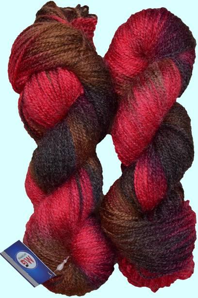 M.G Enterprise Glow Red Black (200 gm) Wool Hank Hand knitting wool / Art Craft soft fingering crochet hook yarn, needle knitting yarn thread dyed.