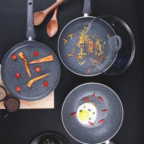 WONDERCHEF Granite Non-stick 4-piece Cookware Set(Fry Pan with Lid, Wok, Dosa Tawa), Induction bottom, Soft-touch handles, Virgin grade aluminium, PFOA/Heavy metals free, 3.5mm, 2 years warranty Induction Bottom Cookware Set
