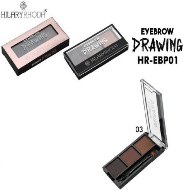 Hilary Rhoda Eyebrow enhancer eyebrow palette 6.8 g (brown, dark grey, light brown) shade 3 6.8 ml