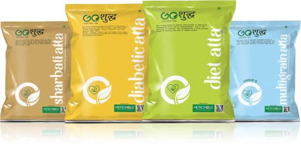 Goshudh All In One Diabetic, Diet, Sharbati And Multigrain Atta Combo Pack of 4