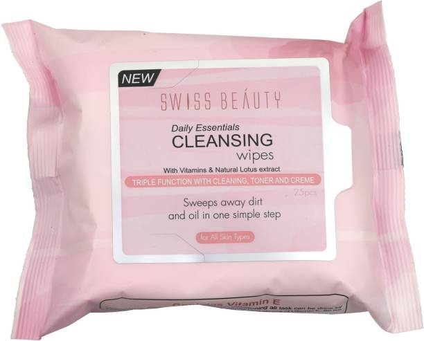 SWISS BEAUTY Makeup Remover Cleansing Wet Wipes, Face Makeup, Natural Lotus ,200 gm Makeup Remover