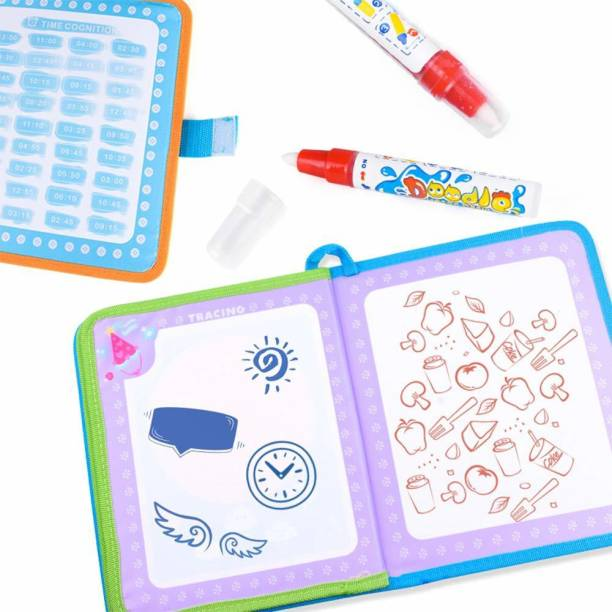 StarAndDaisy Aqua Magic Doodle Book Portable Water Drawing Doodling Mat Coloring Pad Educational Painting Board Toys Gift for Kids Toddler Boy Girl Age 2 3 4 5 6, Purple-Pink