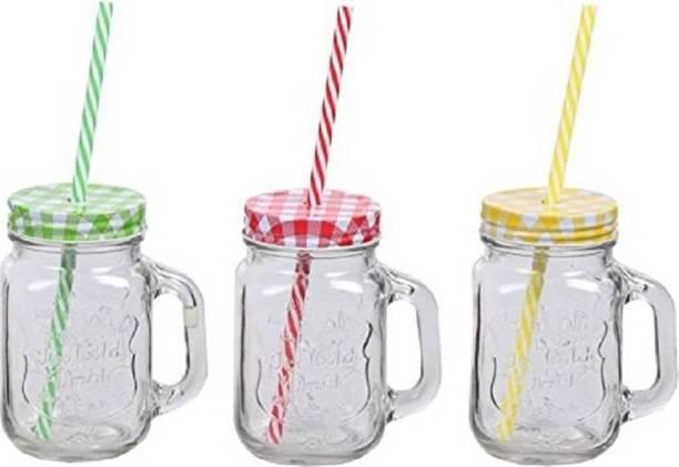 The SaGa Empire Royal Glass Mason Jar with Lid and Straw Smoothie Ice Cream Fruit Cold Drinking Water Jars Juice Cup Glass (450 ml) (Random Colour) Glass Mason Jar