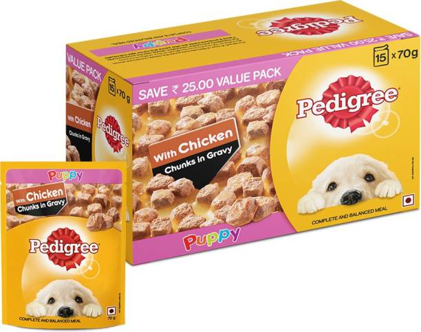 PEDIGREE Gravy Chicken Chunks for Puppy Chicken 1.05 kg (15x0.07 kg) Wet Young, New Born Dog Food