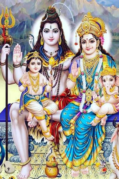 |Bhagwan Shiv & Ma Parvati With Family | Decorative Poster | Poster For Room | Wall Décor | High Resolution -300 GSM- (18x12) Paper Print