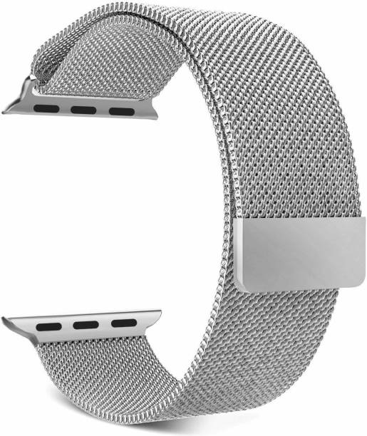Tingtong Stainless Steel 42mm/44mm Milanese Band with Magnetic Closure Silver Chain Smart Watch Strap