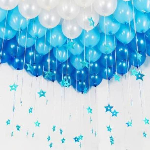 PAHUJA Solid BALLON L.BLUE DARK BLUE WHITE PACK 100 Balloon Bouquet
