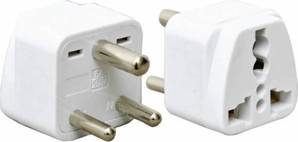 wroughton AX_484 Pack of 2 Universal Traveller Conversion Plug 3 Pin Socket Worldwide Adapter, Convert UK/US/EU/AU to India Power Adaptor 6 Amp Three Pin Plug