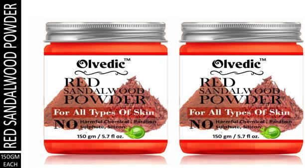 Olvedic 100% Pure Organic Red Sandalwood ( Chamdan ) Powder For skin care 150gm Pack Of 2 Bottle 300gm