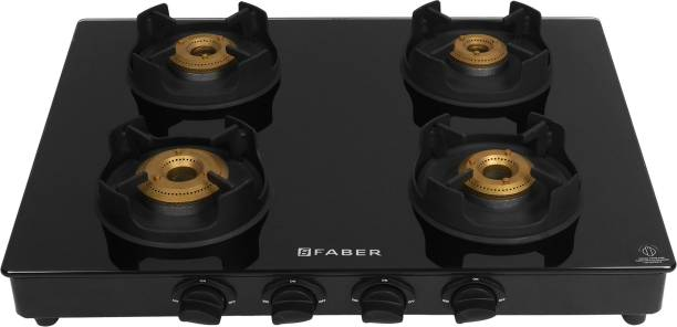 FABER Onyx 4BB BK CI Glass Manual Gas Stove