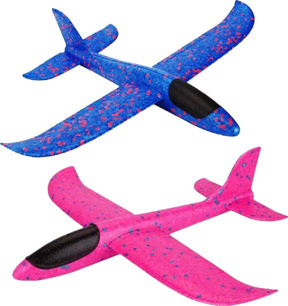Sage Square Large Hand Throwing Foam Plane, Dual Flight Mode, Aeroplane Gliders, Flying Aircraft, Gifts for Kids, Outdoor Sport Game Toys, Birthday Party Gifts (Pack of 2)