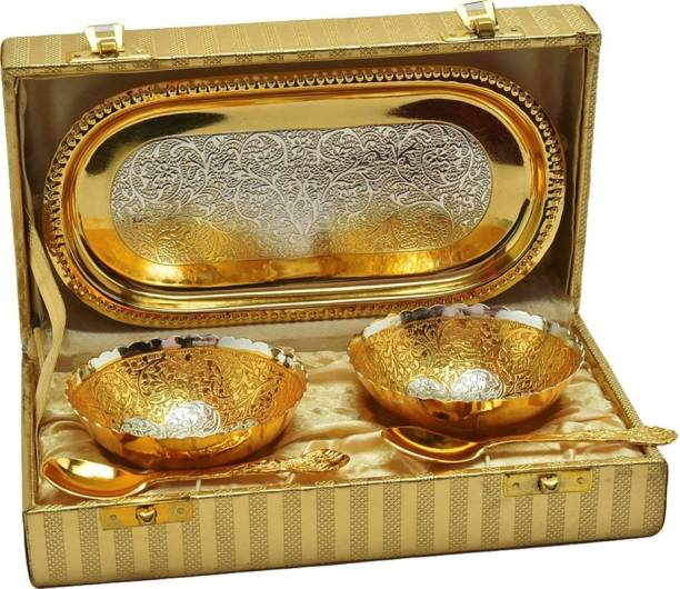 INTERNATIONAL GIFT Gold Plated Bowl With Tray And Spoon With Royal Luxury Velvet Box Packing And Beautiful Carry Bag Used For Dry Fruit, Sweets And Home Décor Bowl Serving Set