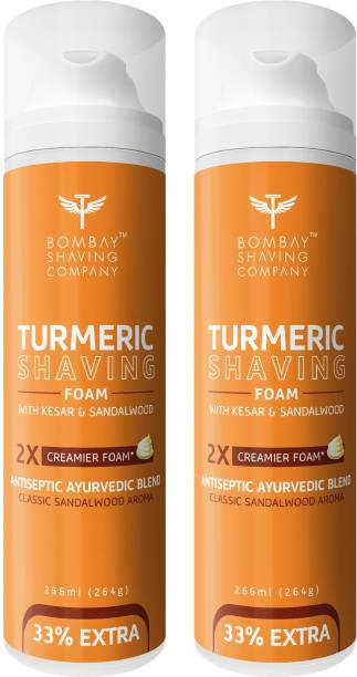 BOMBAY SHAVING COMPANY Turmeric Shaving Foam with Turmeric, Sandalwood, Kesar and 2X Creamier Formulae for Superior Glide and Protection 266 ml (33% Extra) Pack Of 2