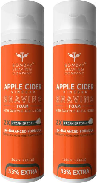 BOMBAY SHAVING COMPANY Apple Cider Vinegar Shaving Foam with Apple Cider Vinegar, Salicylic Acid, Honey and 2X Creamier Formulae for Superior Glide and Protection 266 ml (33% Extra) Pack Of 2