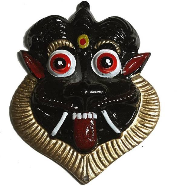 salvusappsolutions Metal Mahakal Face Mask Nazar Battu (Black_10 x 9 cm) Decorative Showpiece  -  10 cm