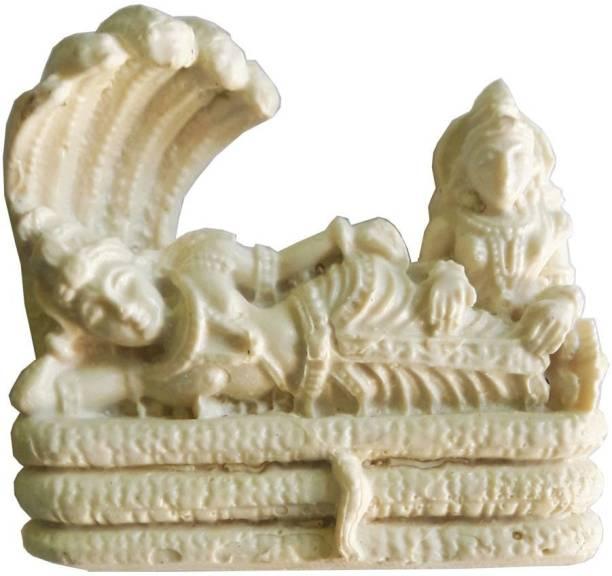 salvusappsolutions Marble Dust Handmade Vishnu J with Laxmi Statue for Home/ Mandir,White Decorative Showpiece  -  7 cm