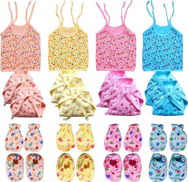 V.B.K New Born Baby Care Cloth Set Combo (Set Of 20, Jhabla, Nappy, Mittens, Hosiery Material, Random Print