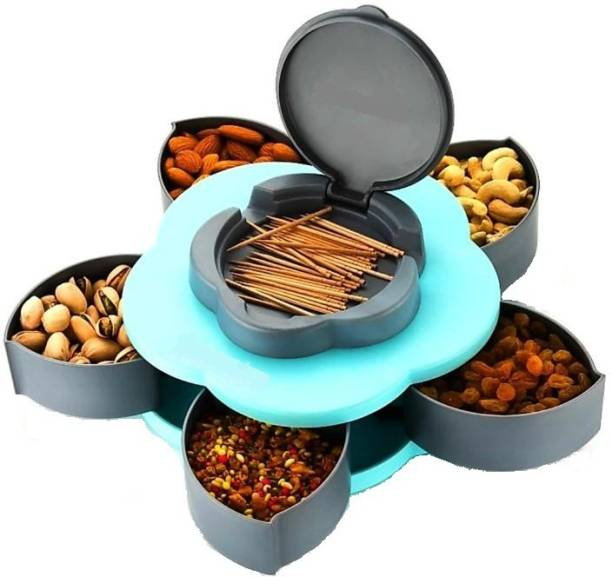 HUMBLE KART 5 Section Flower Petal Innovative Mechanism - 1500 ml Plastic Grocery Container (Grey, Blue) 1 Piece Spice Set