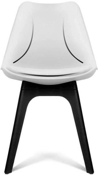 Finch Fox Stylish & Modern Furniture Plastic Chairs with Cushion (White & Black Color) Plastic Living Room Chair