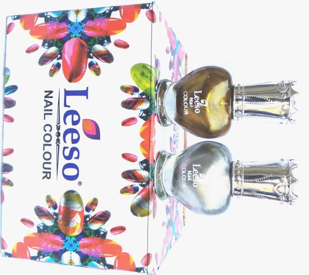 leeso POLISH HD COLORS HIGH SHINE LONG LASTING NON TOXIC MULTI COLOR SHADE PREMIUM PAINT SILVER AND GOLDEN COLOR Silver, Golden