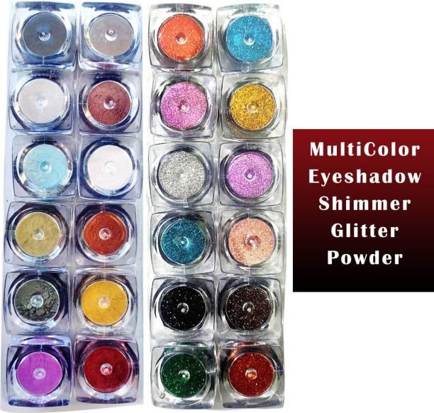 VOZWA Multicolor Shining Shimmer Glitter Powder Face + Body + Eyes 24 Pcs