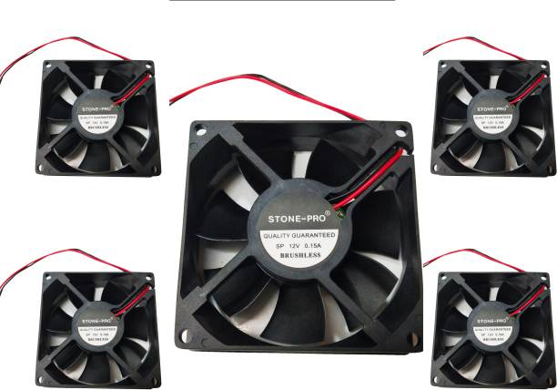 STONE-PRO 5pic 12V DC Fan 80X80X25MM Cabinet 3-Inch Square Cooling fan Cooler