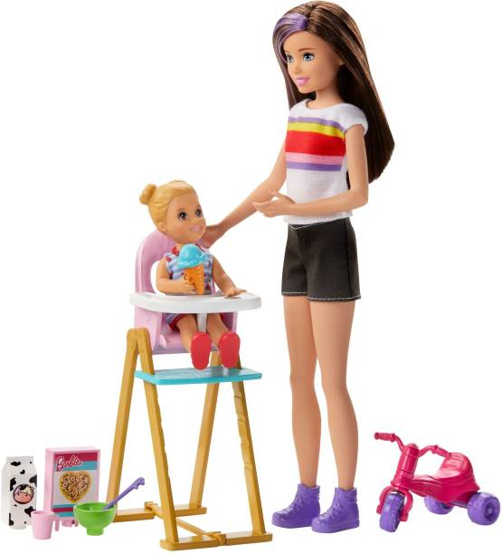 BARBIE Skipper Babysitters Doll and Feeding fun Playset