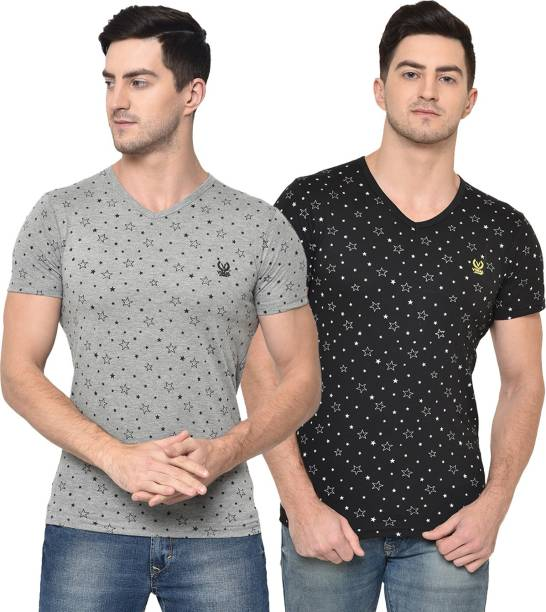 3SIX5 Printed Men V Neck Multicolor T-Shirt