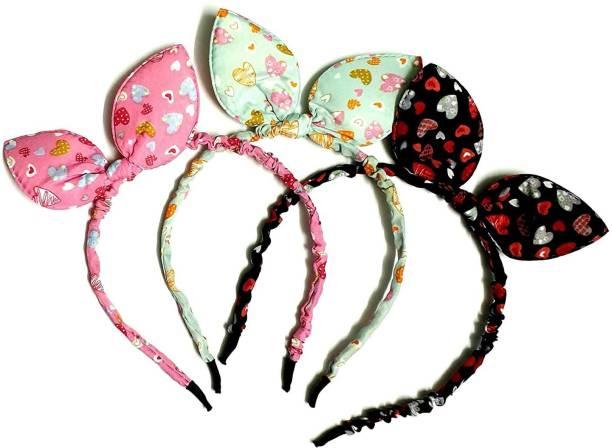PANKSHRI ENTERPRISE RABBIT EAR elastic bow knot hair accessory set 3 PCS Hair Band