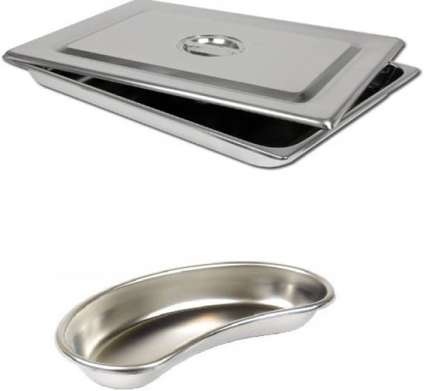 """Agarwals ™ Kidney Tray 12"""" & Instrument Tray 9*6 With Lid(Set Of 2) Reusable Medical Tray"""